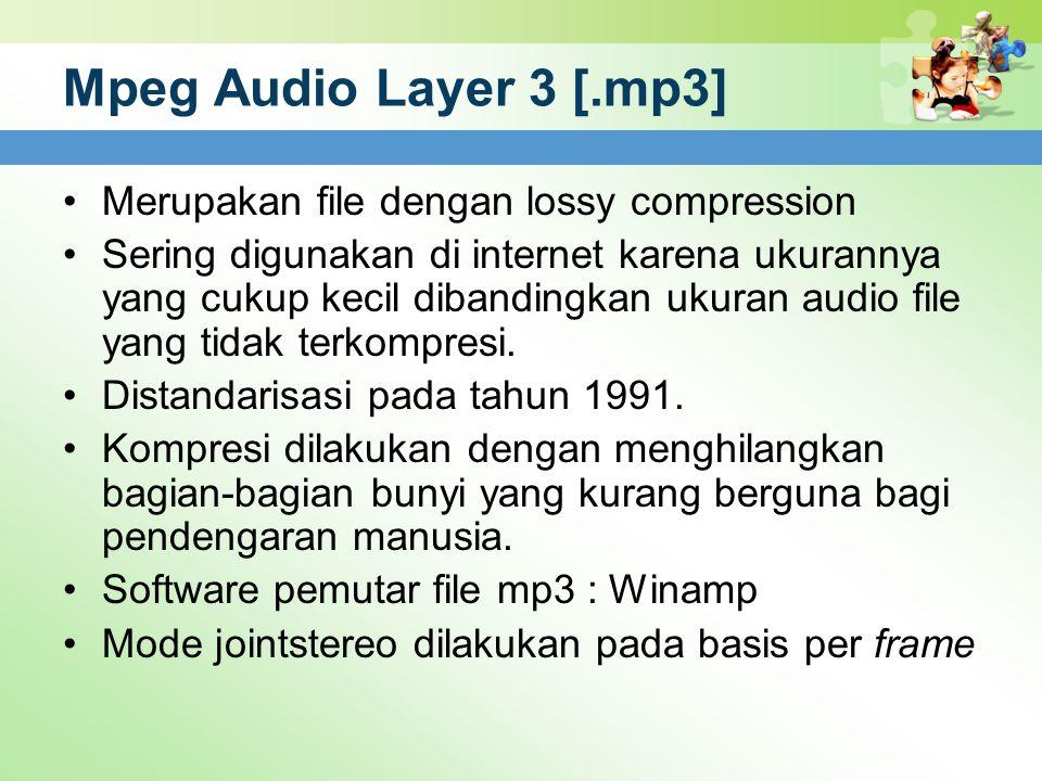 Mpeg Audio Layer 3 [.mp3] Merupakan file dengan lossy compression